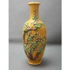 Rosewood Pottery Vase Beautiful Ca 1900 Chinese Pottery Vase With Applied Decoration