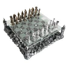 chess board buy pewter and glass medieval knights chess set