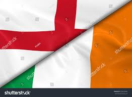 flags england ireland divided diagonally 3d stock illustration