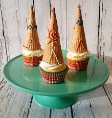 teepee cupcake toppers made from sugar cones and royal icing