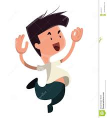 happiness character jumping from happiness illustration character stock
