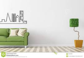 Living Room Design Green Couch Modern White Living Room Interior With Green Sofa 3d Rendering