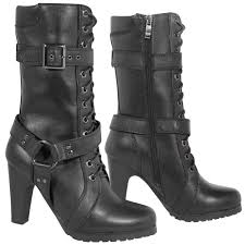 womens motorcycle boots uk xelement lu8003 s black buckle and harness fashion boots
