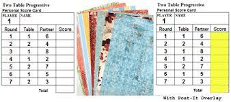 two table progressive tally tallies score pads