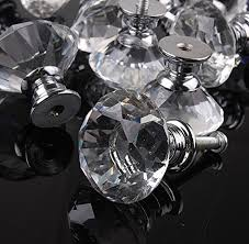 glass cabinet pulls handles 30mm flat round crystal glass cabinet knobs cupboard drawer pull