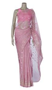 arong saree light pink and golden half silk jamdani saree