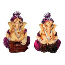 Spiritual Home Decor by 2 Pcs Combo Musical God Shri Ganesh Statue Lord Ganesha Idol