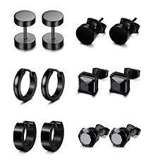 mens huggie earrings jstyle 6 pairs stainless steel cz stud earrings for women mens