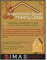 Home Decorating Classes by Gingerbread House Craft Class Offered At Imas