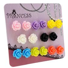 magnetic stud earrings mixed color resin flower magnetic stud earrings for