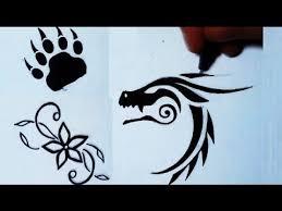 tattoo flower drawings drawing 3 simple tattoos flower bear paw dragon youtube