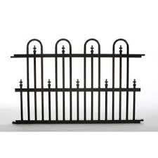allure aluminum worthington 4 ft x 6 ft black aluminum 3 rail specrail roxbury garden perimeter 3 ft w x 2 ft h aluminum