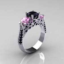 black and pink engagement rings light pink sapphire black diamond engagement solitaire ring