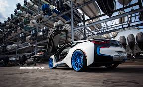Bmw I8 Modified - bimmerboost another white bmw i8 on bright blue wheels bmw i8