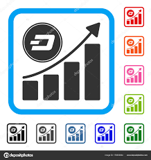 growing chart dash growing chart framed icon stock vector ahasoft 178353934