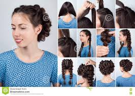 hair tutorial hairstyle plaits for long hair tutorial stock photo image 73123858
