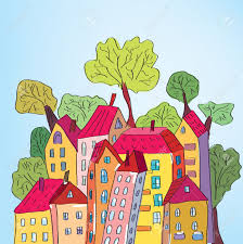 whimsical houses and trees in the town royalty free cliparts