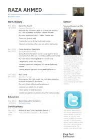 Security Officer Resume Template Security Guard Resume Samples Visualcv Resume Samples Database