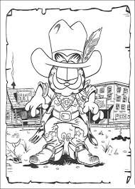 cowboy garfield coloring free printable coloring pages