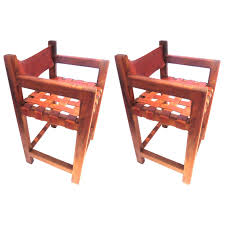 Mexican Furniture 1960s Pair Of Tall Leather Strap Arm Bar Stools Mexican Moderrn At