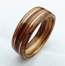 wood wedding bands bentwood ring zebrawood and copper wood wedding band