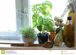 old country kitchen window with herbs stock photo image 10834670