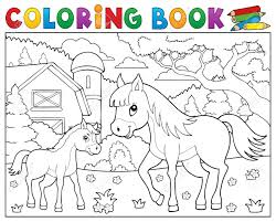 Coloriage Cheval De Livre Avec Le Thème De Poulain 2  Eps10