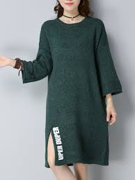 3 4 sleeve solid h line casual sweater dress 1vmi9t07a0 72 00