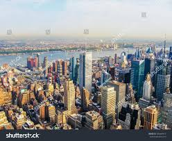 manhattan skyline new york city manhattan skyline helicopter stock photo 390484414