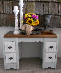 White Distressed Desk by Createinspire Two Tone Antique Vanity Desk