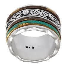 spinner ring silpada spinner striped ring with cubic zirconia in