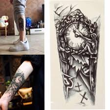 jdm tattoos wholesale trendy temporary tattoo flower rose clock jewel death