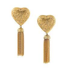 80s earrings yves laurent arabesque fringe heart earrings of the 80s