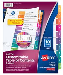 avery customizable table of contents dividers 10 tab set