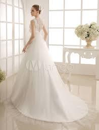 milanoo robe de mari e robe de mariée avec perle de col v à traîne chapelle milanoo