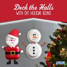 make a diy snowman or santa decoration with hefty foam plates