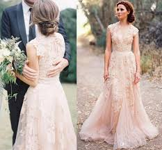 inexpensive wedding dresses discount 2015 v cap sleeves pink lace applique tulle sheer