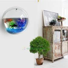Fish Home Decor Fish Tank Aquarium Plant Wall Mount Hanging Pot Bowl Bubble