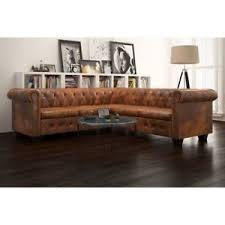 Leather Button Sofa Antique Corner Sofa Chesterfield L Shaped Settee Button Brown