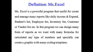 Spreadsheet Definition 1 Definition Of Ms Excel Youtube