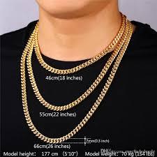 men necklace sizes images 2018 u7 statement link chain necklace bracelet set 18k real gold jpg