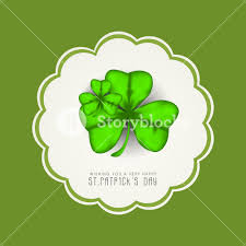 happy st patricks day concept with clover leaves and stylish text