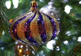 blue christmas bulb with red and gold christmas decorations stock