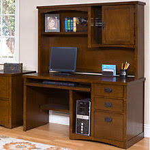 Computer Desks With Hutch Mission Style Home Office Desks Amish Made Oak Craftsman