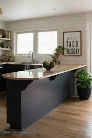 Diy Kitchen Bar by Kitchen Reveal With Dark Cabinets And Open Shelving Dark Blue