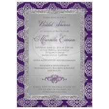 purple and silver wedding invitations bridal shower invitation purple silver gray damask faux