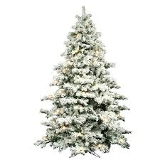 9 ft flocked multi led foot white artificial trees