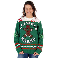 s let s get baked happy gingerbread tacky sweater