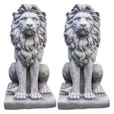 lion garden statue large proud lion garden statue pair onefold uk