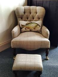 Armchairs Uk Only Tudor 100 Wool Tweed Button Back Chesterfield Armchair In Tartan